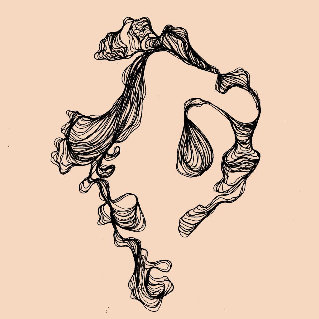 dessin organique avec courbes avec fond rose